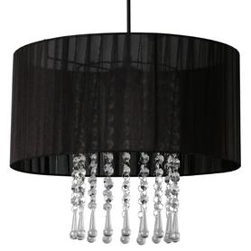 Żyrandol Wenecja lampa sufitowa wisząca czarna abażur organza kryształki