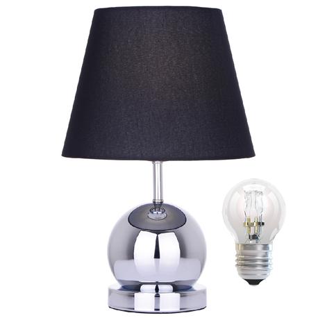 Lampa stołowa Cleto-B Lampka nocna dotykowa czarna chrom abażur (1)