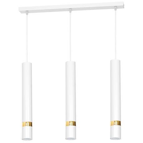 Lampa sufitowa wisząca zwis nad stół bar JOKER 3 biała złota żyrandol tuba (1)