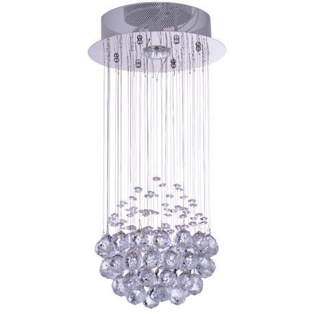 Lampa wisząca sufitowa kryształowa Żyrandol Brasilia kryształ chrom rain krople 1xGU10 (1)