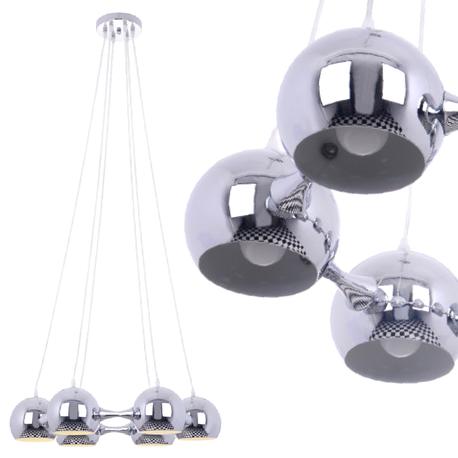 Lampa sufitowa wisząca Reina 6xE27 Żyrandol kule chrom atom (1)