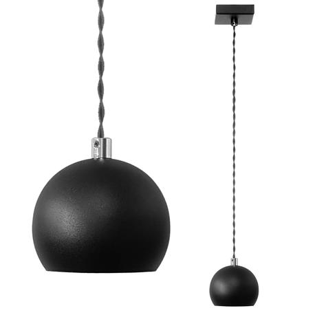 Lampa wiszaca sufitowa nad stół bar KULKA 1808 czarna żyrandol ball