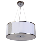 Lampa sufitowa wisząca Claire 3xE27 Żyrandol duży kryształki tkanina chrom (1)