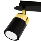 Spot Lampa sufitowa ścienna JOKER 3 czarna złota Żyrandol tuba ruchome reflektorki (2)