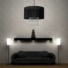 Żyrandol lampa sufitowa wisząca WENECJA 153/1 czarna abażur organza kryształki