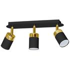 Spot Lampa sufitowa ścienna JOKER 3 czarna złota Żyrandol tuba ruchome reflektorki (1)