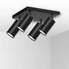 Spot Lampa sufitowa ścienna Tuba 4 czarna plafon ruchome reflektorki