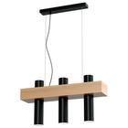 Lampa wisząca tuba zwis nad stół bar WEST 3 czarny żyrandol drewno metal (1)