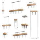 Lampa wisząca tuba zwis nad stół bar WEST 3 czarny żyrandol drewno metal (7)