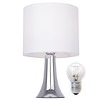 Lampa stołowa Vicky Lampka nocna dotykowa duża abażur tkanina chrom (1)
