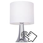 Lampa stołowa Vicky Lampka nocna dotykowa duża abażur tkanina chrom (6)