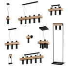 Lampa wisząca tuba zwis nad stół bar WEST 3 czarny żyrandol drewno metal (6)