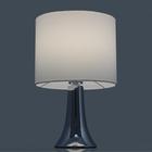 Lampa stołowa Vicky Lampka nocna dotykowa duża abażur tkanina chrom (2)