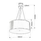 Lampa sufitowa wisząca Claire 3xE27 Żyrandol duży kryształki tkanina chrom (5)