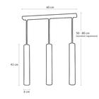 Lampa sufitowa wisząca zwis nad stół bar JOKER 3 czarna chrom żyrandol tuba (5)